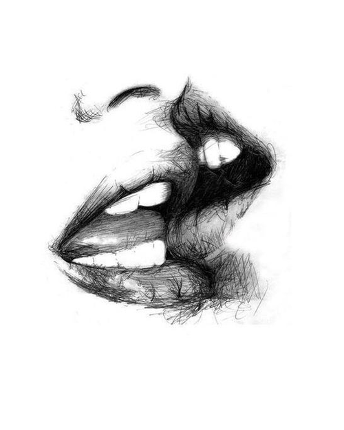 Slowly by slowly take my breathe away filled it until i drown plenty of passion♤ pencil drawing sketch lips