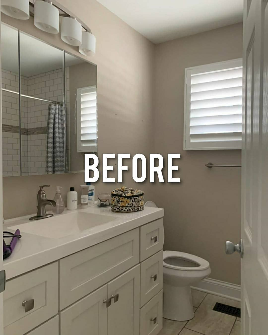 Before After Design On Instagram Swipe Check Out This Bathroom Transformation By Ourwelldesign In 2020 Gorgeous Bathroom Bathroom Makeover Bathroom Repair