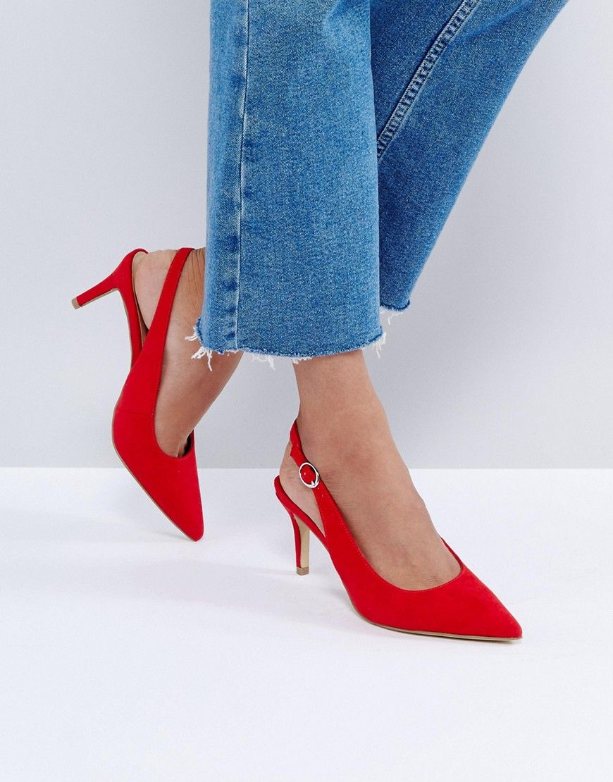 New Look Red Slingback Low Heel Shoe Red New Look Heels Low Heel Shoes Medium Heel Shoes