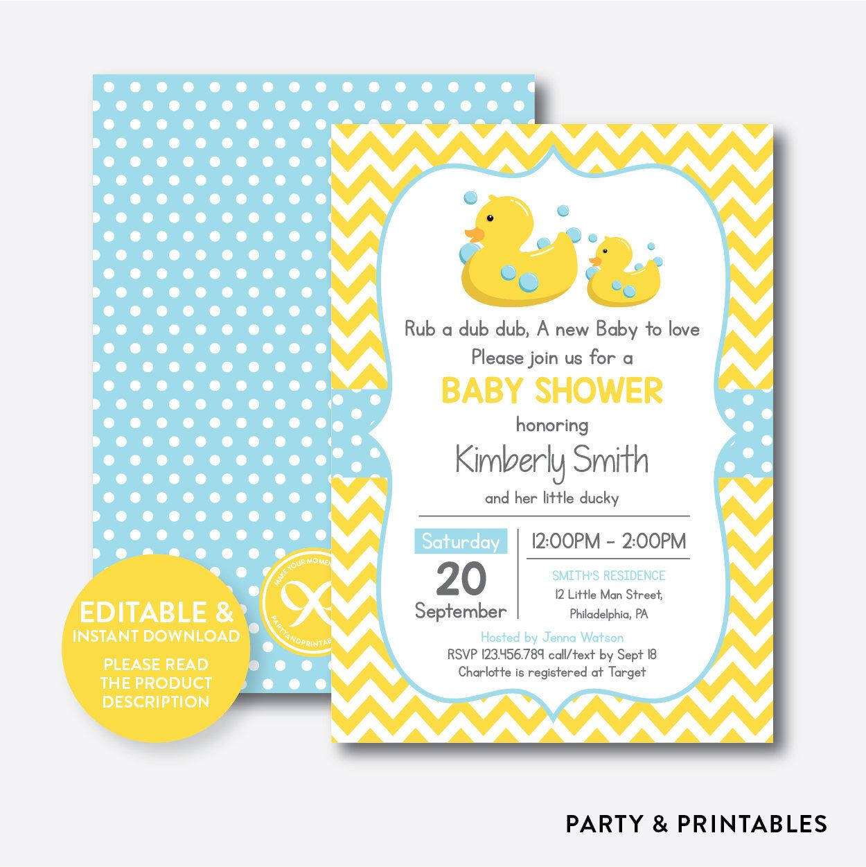 Instant Download, Editable Rubber Duck Baby Shower Invitation ...