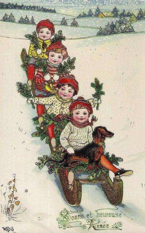 Happy New Year   Cartes de noël vintage, Carte bonne année, Belles