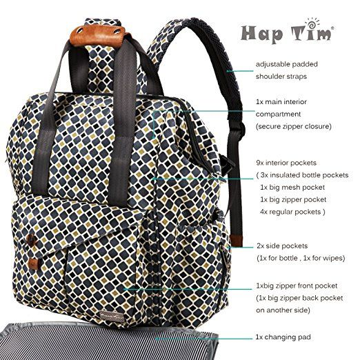 30a881194dd9 HapTim Multi-function Baby Diaper Bag Backpack W  Stroller Straps- Insulated  Pockets- Changing Pad Included