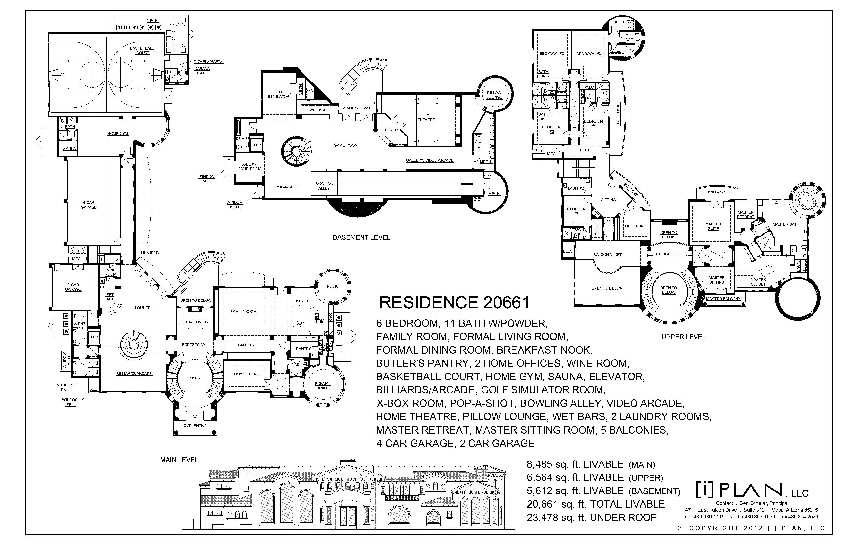 20 661 Square Foot Arizona Mansion Floor Plan As Shown Floor Plans Mansion Floor Plan How To Plan