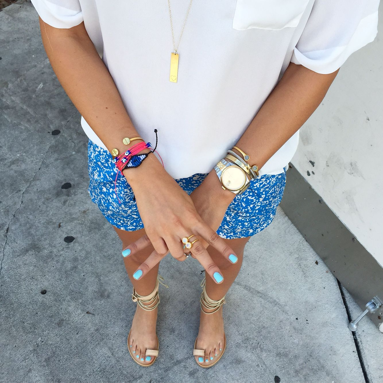 Arm party, gladiator sandals, Rolex, gold jewelry, stack, cool ...