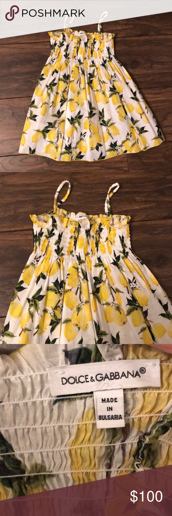 49080c364b40 Little girls Dolce and Gabbana dress Lemon print spaghetti strap dress.  Pricing reflects condition, sold as is. Dolce & Gabbana Dresses