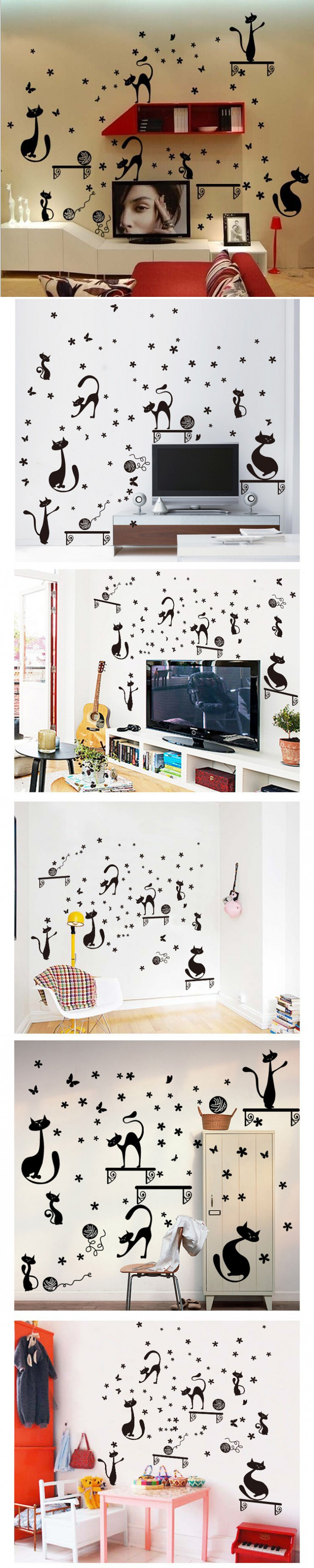 cartoon cute black cat wall stickers for kids rooms decor decals art ...