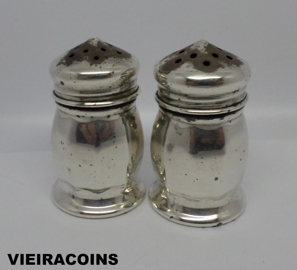antique metal salt and pepper shakers