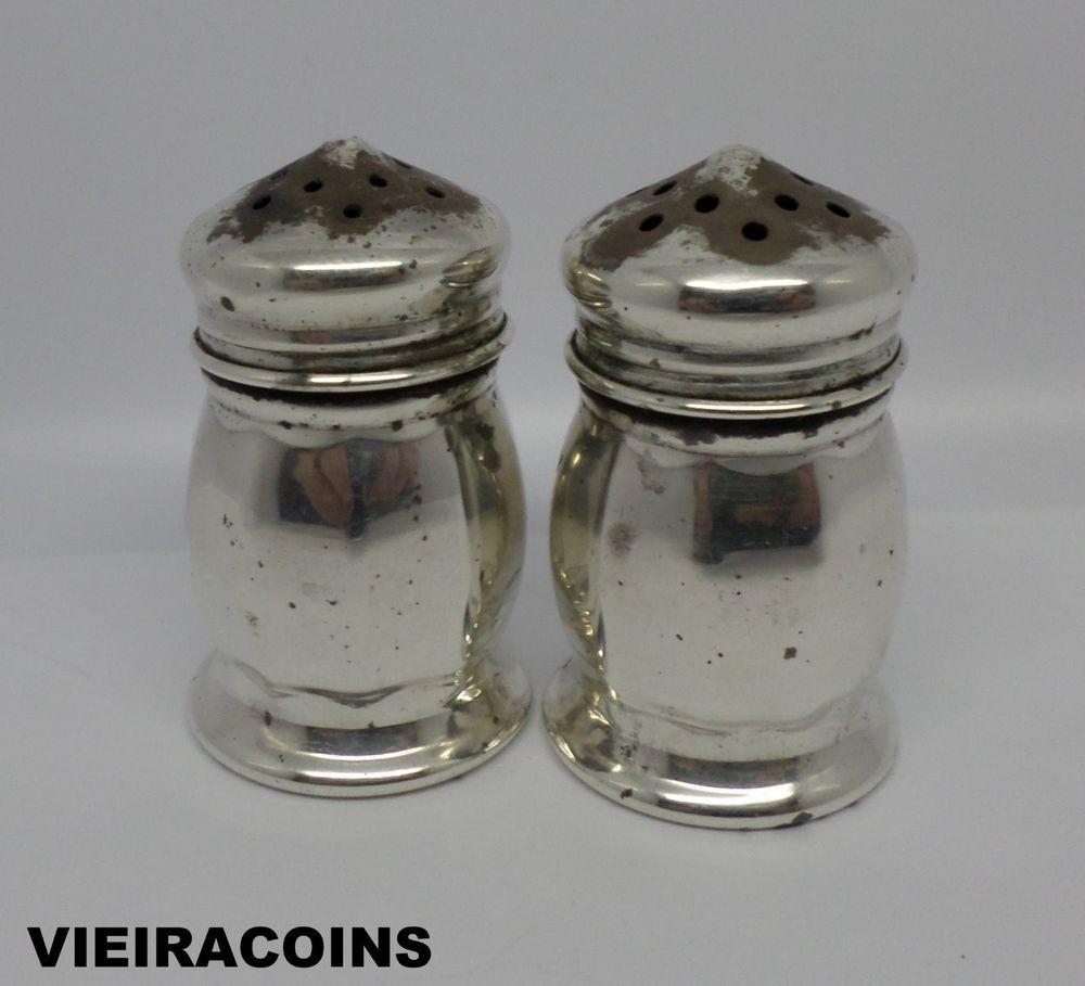 Vintage sterling silver miniature salt & pepper shakers - #5749