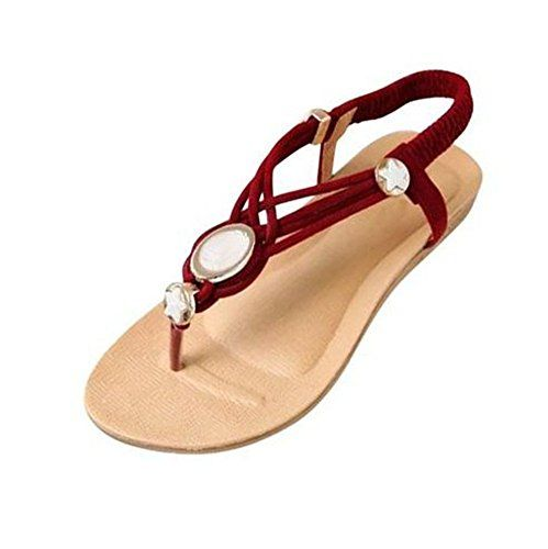 Minetom Sommer Zehentrenner Damenschuhe Flattie mit Bohrer Schuhe Sandalen Strandschuhe Sandaletten Glitzer Partei Riemchen Strass ( Beige EU 39 ) P7RGe93aEh