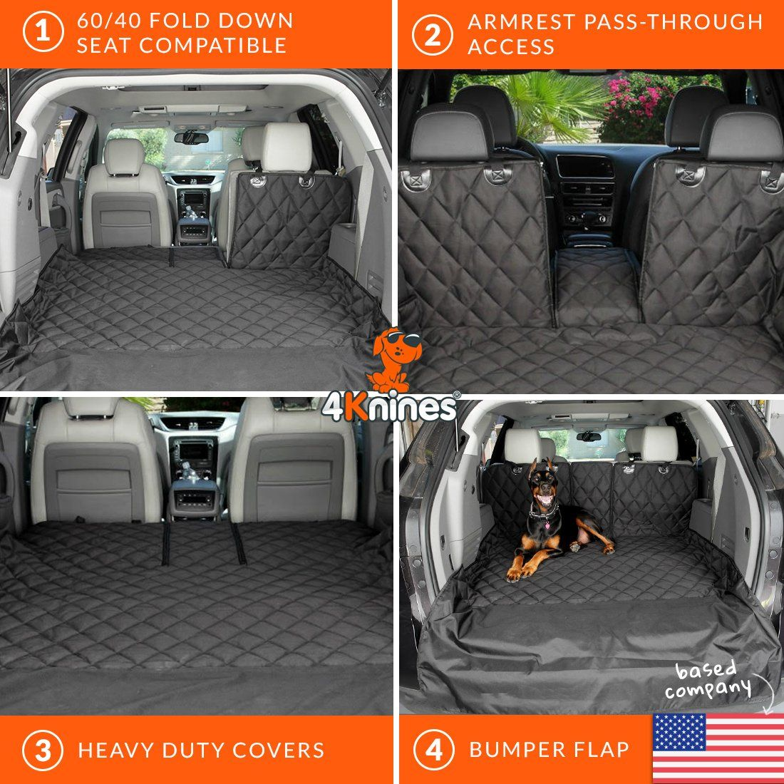 4Knines SUV Cargo Liner for Fold Down Seats Heavy Duty 60