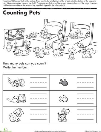 counting pets worksheets kindergarten math and math. Black Bedroom Furniture Sets. Home Design Ideas