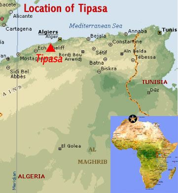 Map showing the location of the Roman ruins of Tipaza UNESCO world