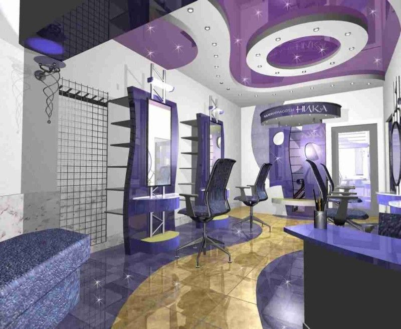 Beautiful hair salon interior design ideas with recessed lighting and modern tiles