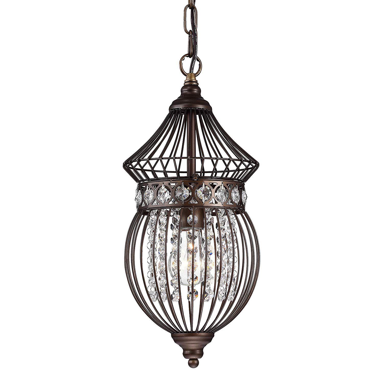 Crystal Chandelier Lighting Bronze Bird Cage Light Fixture