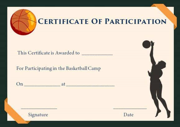 basketball camp participation certificates basketball