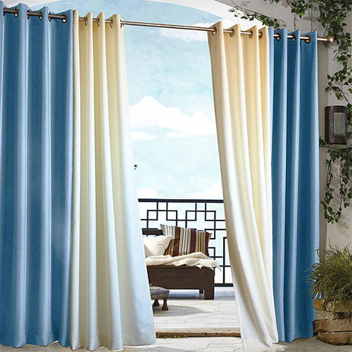 Blue Gazebo Grommet Top Curtain Outdoor Curtains World Market