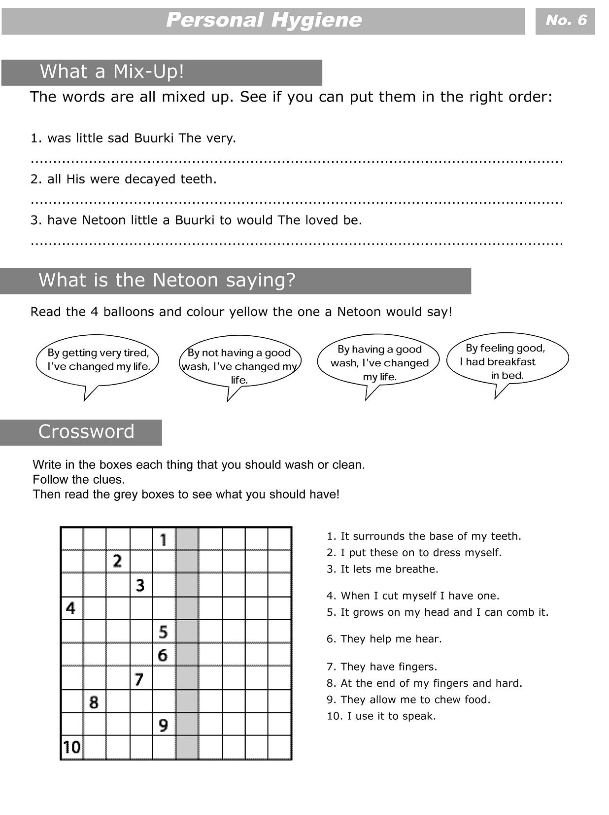 hight resolution of PERSONAL HYGIENE (SHEET 6 OF 7)   Personal hygiene worksheets