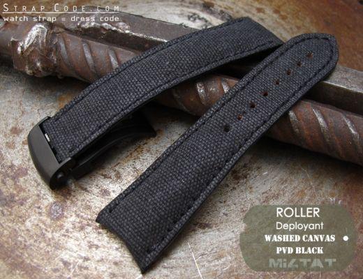 f0275afee 20mm, 21mm, 22mm MiLTAT Black Washed Canvas Roller Deployant Watch Band,  Black S