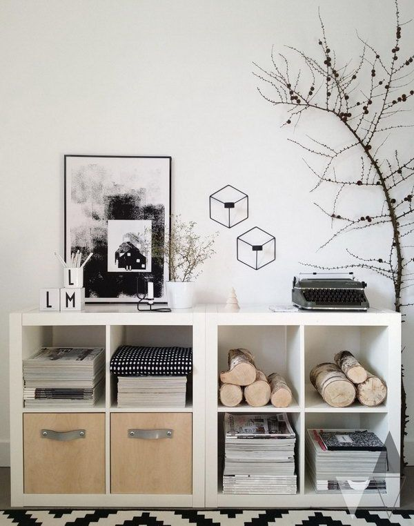 Transform the plain white Kallax shelving units into storage units with natural elements. & Transform the plain white Kallax shelving units into storage units ...