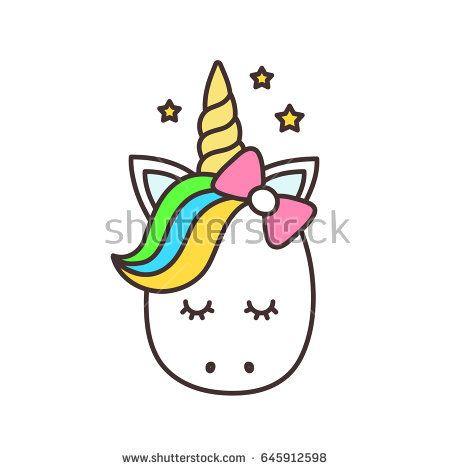 cute unicorn face.vector cartoon