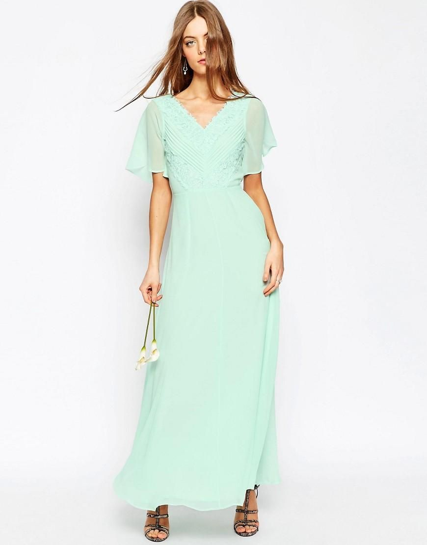 Asos asos wedding lace and pleat maxi dress at asos bridesmaids