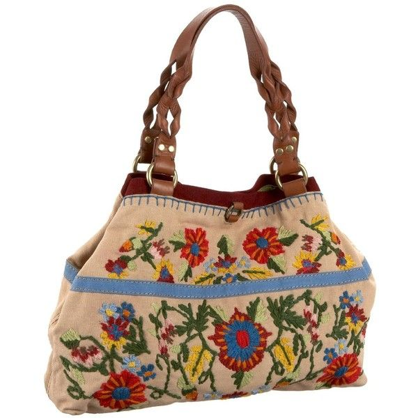 Lucky Brand Embroidered Canvas Shopper ($111) ❤ liked on Polyvore