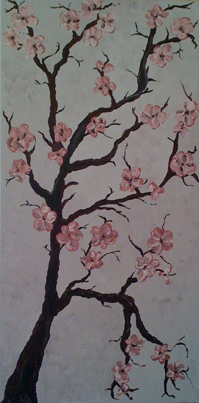 Cherry blossums cherry blossom painting pink painting for Cherry blossom canvas painting
