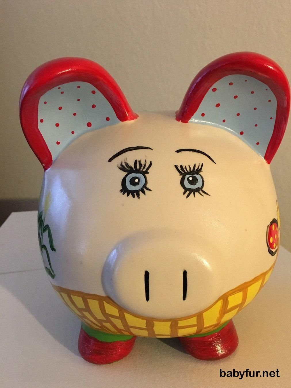 Home Decor Custom hand painted LARGE piggy bank personalized ...