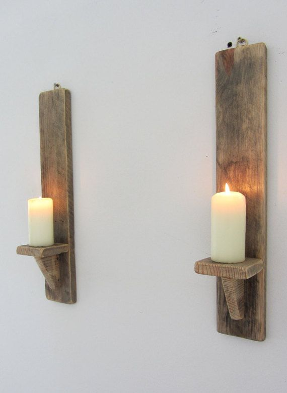 pair rustic recycled pallet wood wall sconce led candle. Black Bedroom Furniture Sets. Home Design Ideas