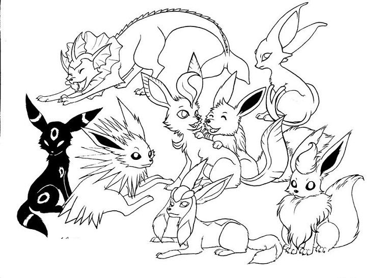 pokemon coloring pages eevee evolutions all | Coloring Pages For ...