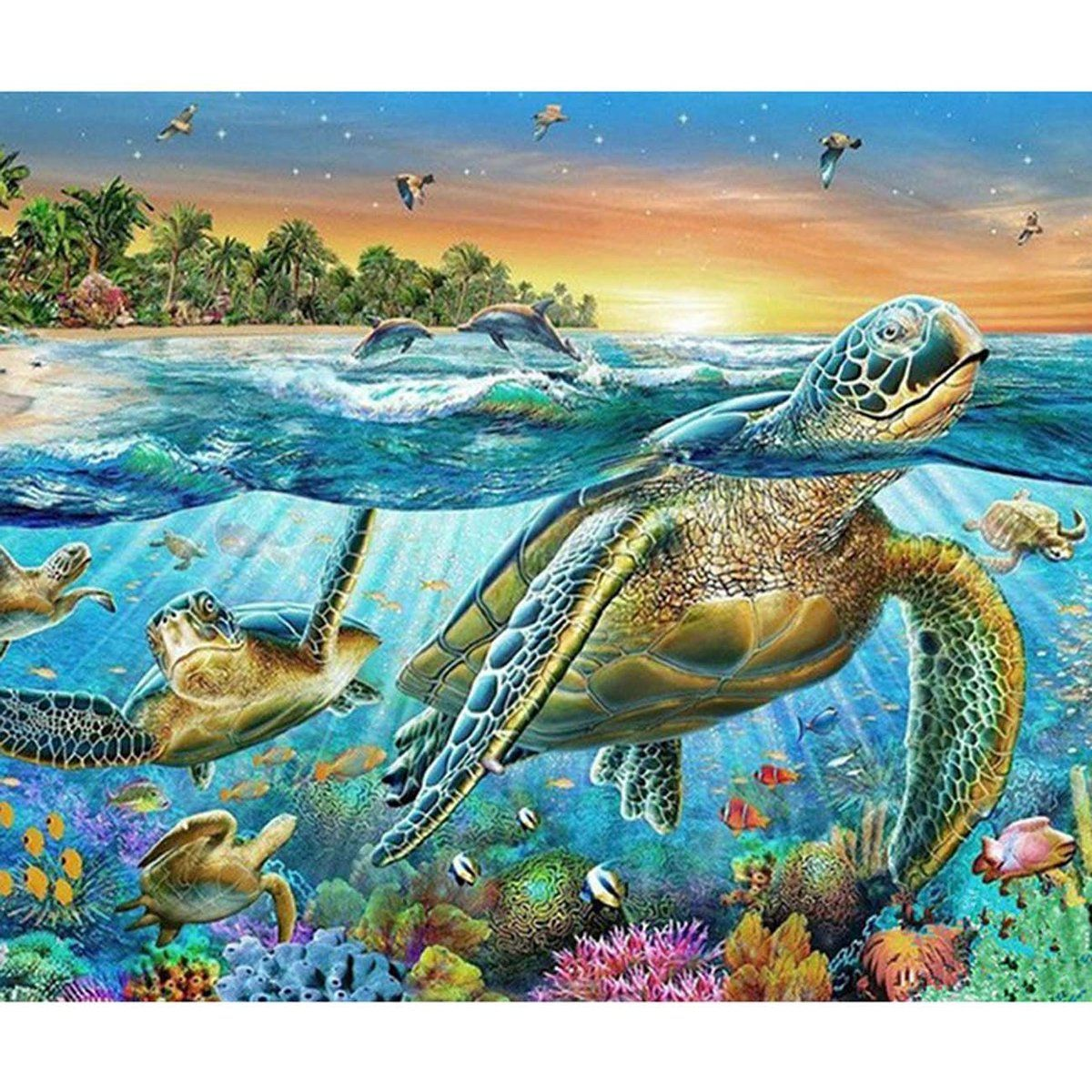 Turtle Animal Full Drill 5D Diamond Painting Cross Stitching Embroidery Decor