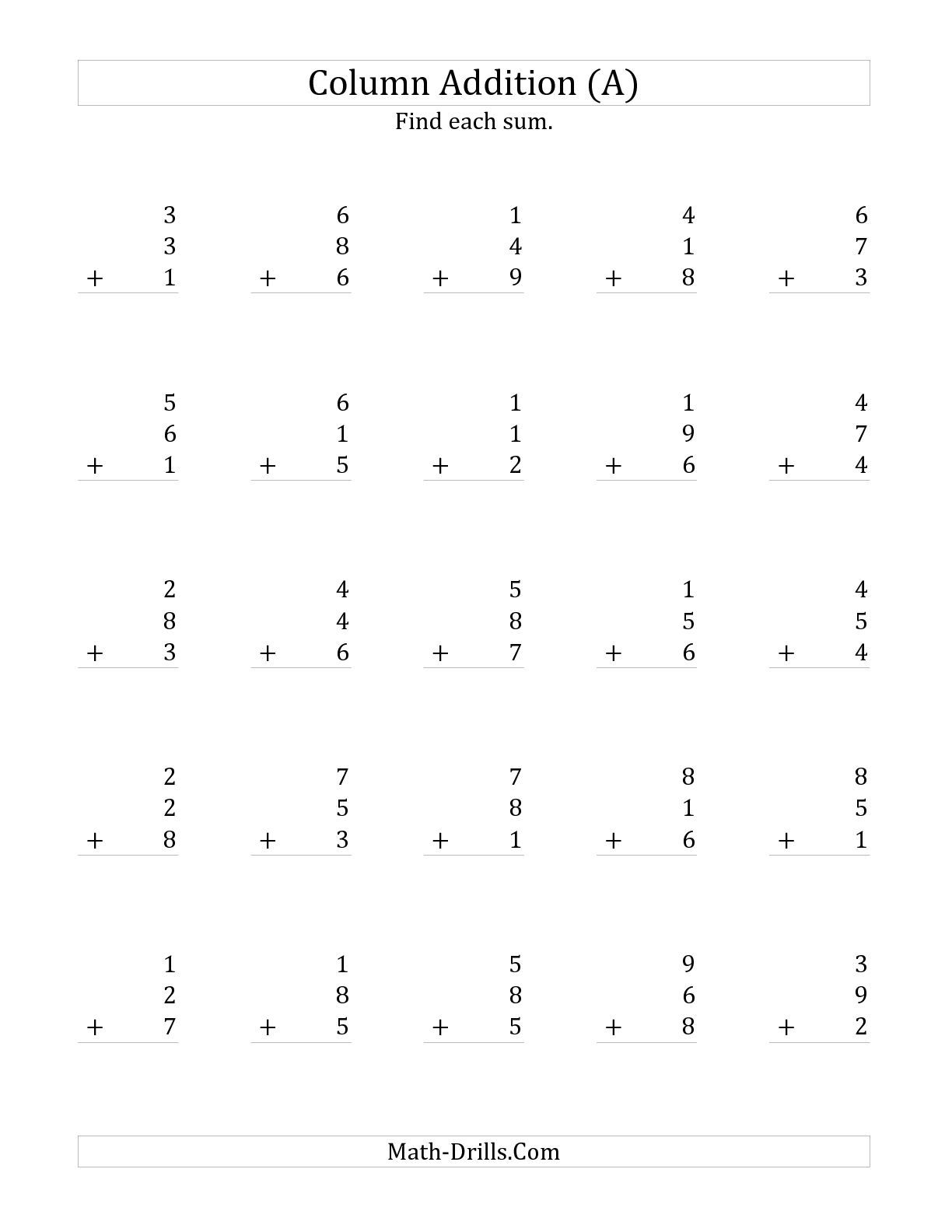 The Adding Three One Digit Numbers A Math Worksheet From The Addition Worksheet Page At Math