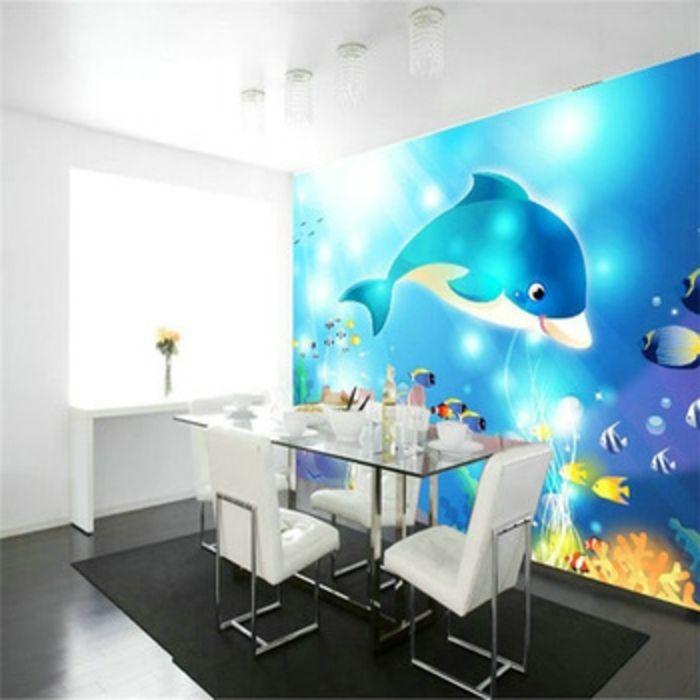 Unterwasserwelt Wandgestaltung im Wohnzimmer - wandgestaltung wohnzimmer grau