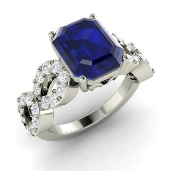 26a21f535159 Emerald-Cut Sapphire Ring in 14k White Gold with SI Diamond