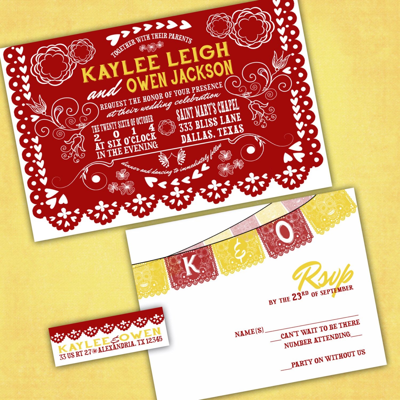 Mexican Cutout Banner Wedding Invitations - PAPEL PICADO - Wedding ...