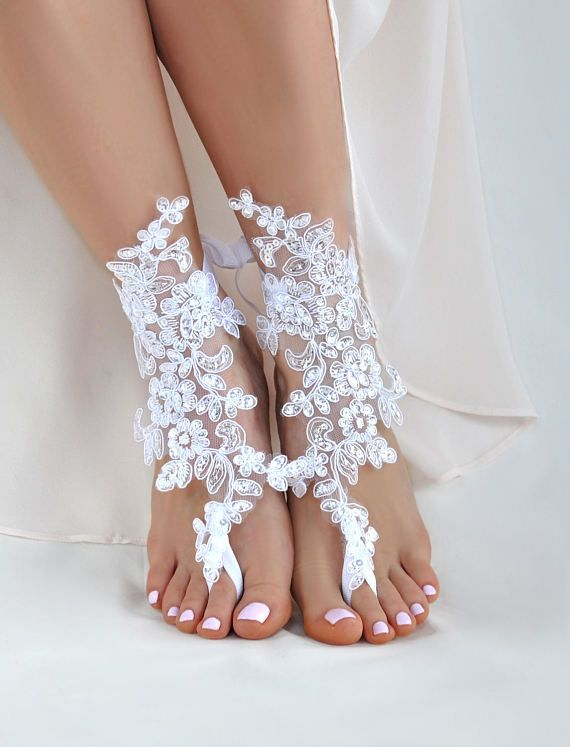 3191126555d06 Barefoot Sandals Wedding on a Beach Bridal Foot Jewelry- Lace ...