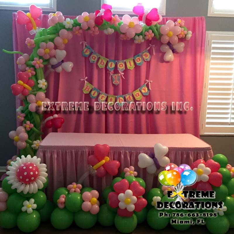 Butterfly And Flowers Balloon Decoration Cake Table With Pink Cloth Backdrop Balloon Flowers Ba Butterfly Balloons Butterfly Theme Party Balloon Decorations