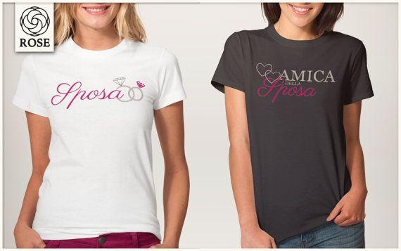 36beedbe580e68 T-shirt Donna Addio al Nubilato Sposa di RoseDigitalArtist | vestito ...