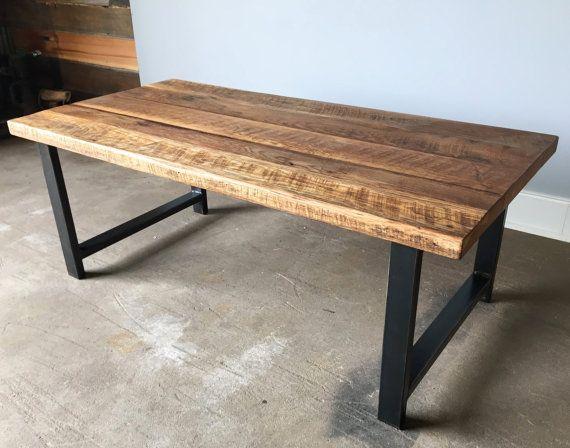 Reclaimed Wood Coffee Table Industrial H Shaped Steel Legs