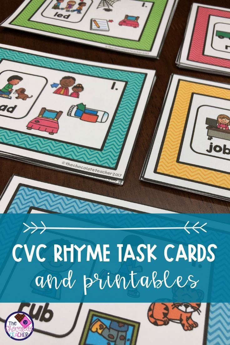 Rhyming Activity Task Cards and Worksheets BUNDLE CVC A, E, I, O, U