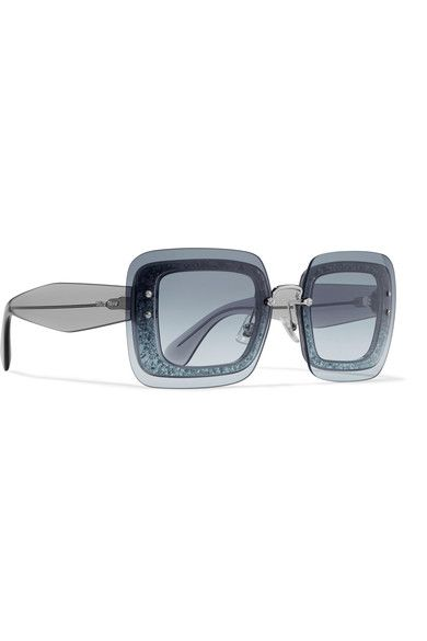 ad25f955e8c Miu Miu - Square-frame Glittered Acetate Sunglasses - Blue ...