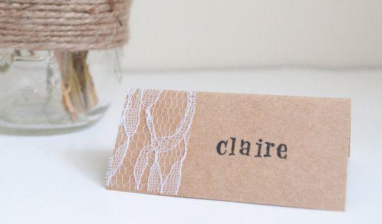 kraft lace wedding escort cards