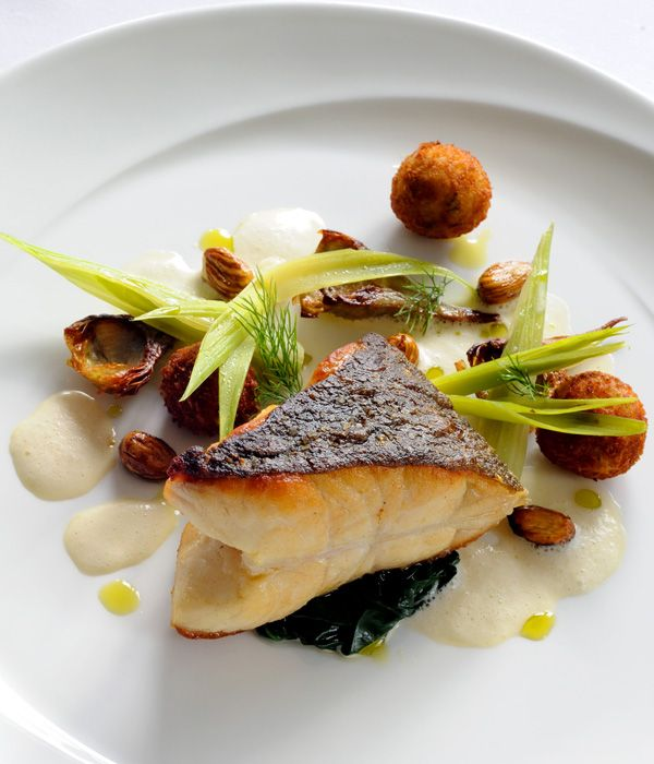 pan roasted turbot cooked on the bone with fennel croquettes and pernod velout rezept haute. Black Bedroom Furniture Sets. Home Design Ideas