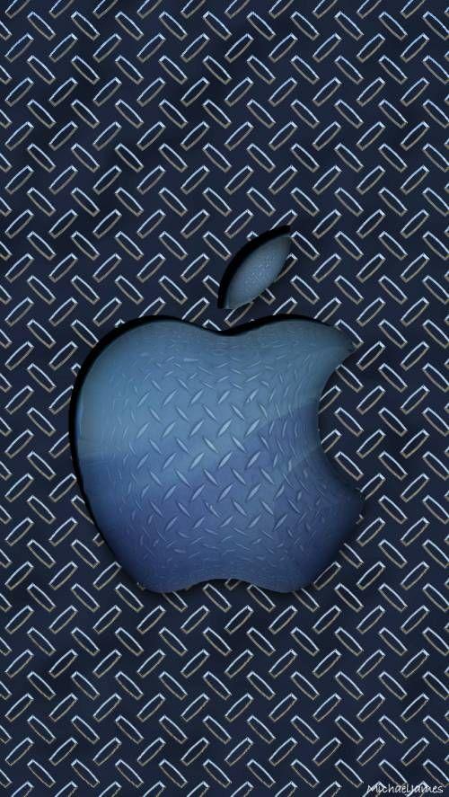 Blue Diamond Plate Apple Apple Logo Wallpaper Iphone Apple Logo