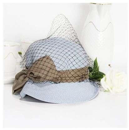 Ruffle bow straw hat with veil for women summer bowler sun hats