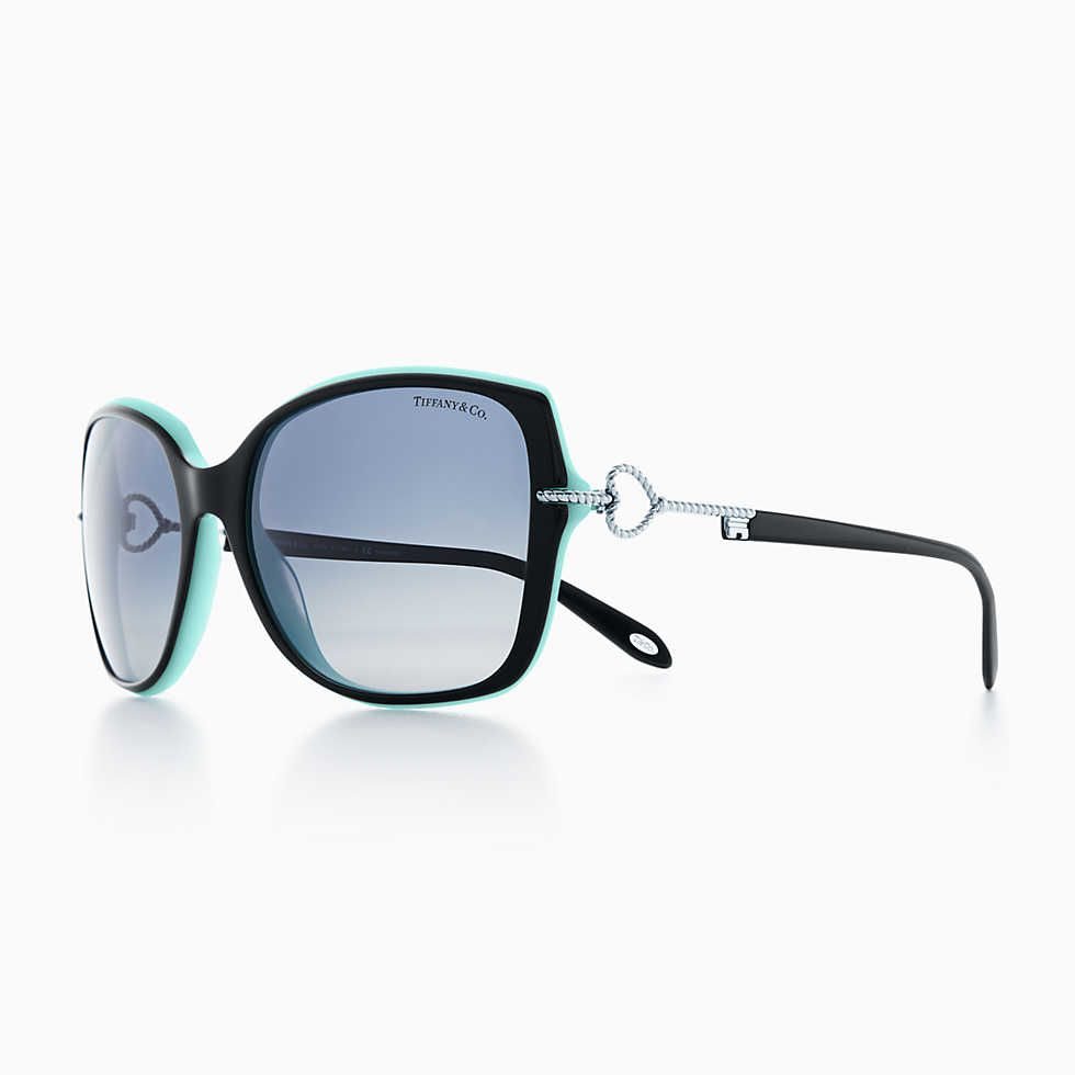 0c2f38f325c93 Tiffany Keys oval sunglasses in black and Tiffany Blue® acetate.