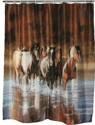 Western Bathroom Shower Curtain Running Horses With Images