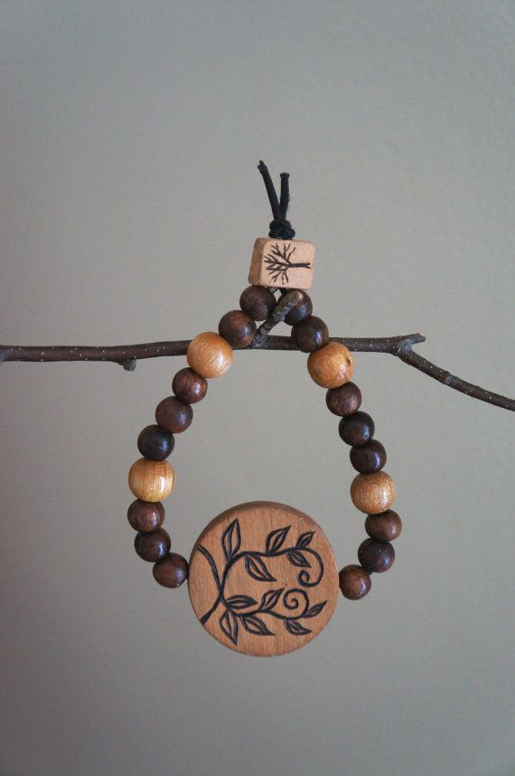 Wood Burned Vintage Beaded Bracelet by mallonmoyesshop on Etsy, $25.00