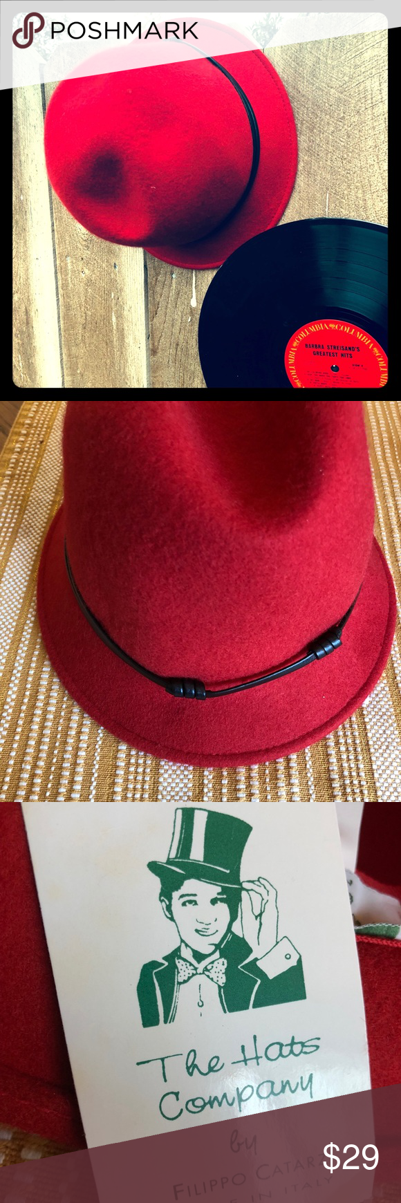 049e79d7d 100% Wool Red Bucket Hat Perfect for fall with leather detail, made ...