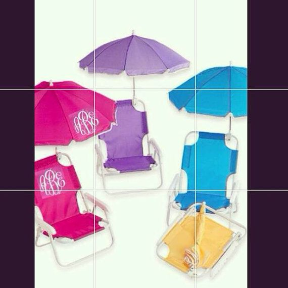 Monogrammed Kids beach chair with umbrella by southernsassbybrit $35.00 | Outdoors | Pinterest | Beach chairs Monograms and Beach  sc 1 st  Pinterest : childrens beach chairs with umbrella - Cheerinfomania.Com